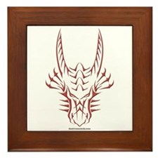 Red Dragon Head Framed Tile
