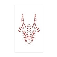 Red Dragon Head Rectangle Decal