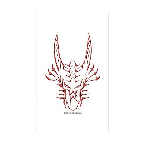 Red Dragon Head Rectangle Sticker