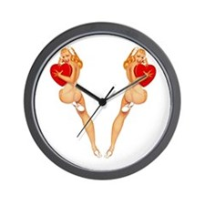 Valentine Pin Up Girl Wall Clock