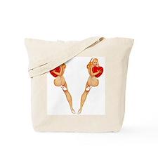 Valentine Pin Up Girl Big Canvas Tote Bag