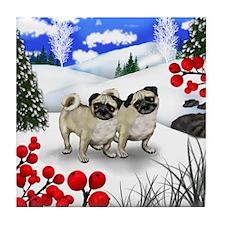 PUG DOGS WINTER BERRIES Tile Coaster