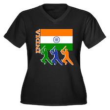 India Cricket Women's Plus Size V-Neck Dark T-Shir