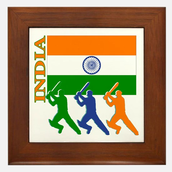 India Cricket Framed Tile