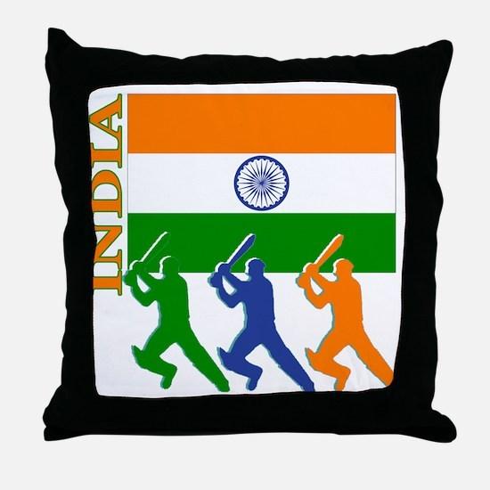 India Cricket Throw Pillow