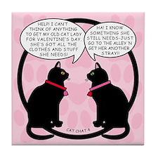 CAT CHAT 4-V DAY Tile Coaster