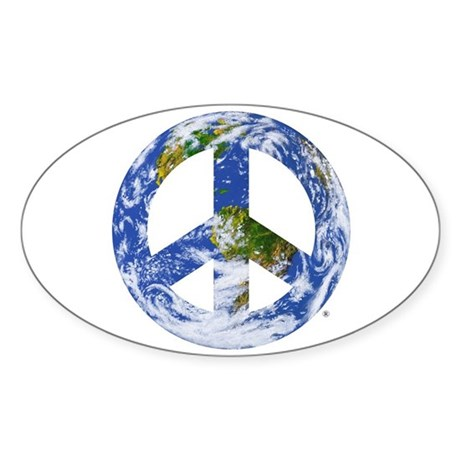 World Peace Sign East Oval Sticker