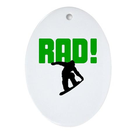 Rad Snowboarder Oval Ornament