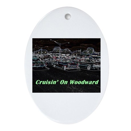 """Cruisin' On Woodward"" Oval Ornament"