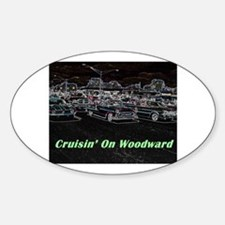 """Cruisin' On Woodward"" Oval Decal"