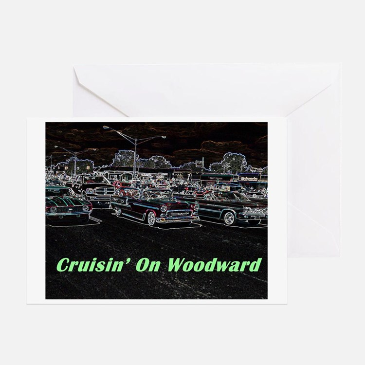 """Cruisin' On Woodward"" Greeting Card"