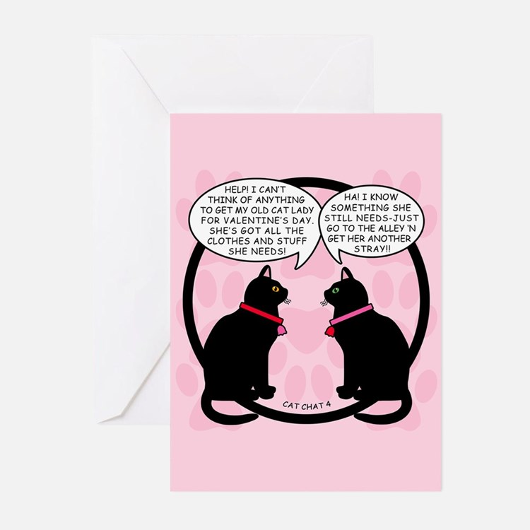 CAT CHAT 4-V DAY Greeting Cards (Pk of 10)
