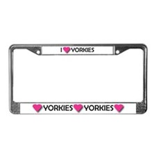 I LUV YORKIES License Plate Frame