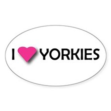 I LUV YORKIES Oval Decal