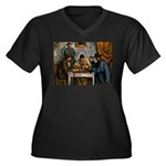 Card Players Women's Plus Size V-Neck Dark T-Shirt