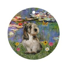 Monet Lilies2 and Petit Basset Ornament (Round)