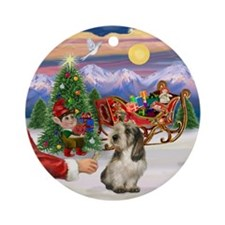 Santa's Treat for his PBGV Ornament (Round)