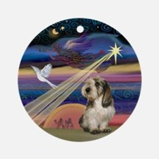 Christmas Star and PBGV Ornament (Round)