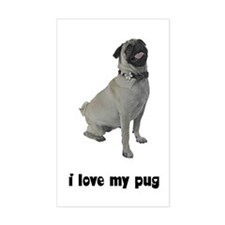 I Love My Pug Rectangle Decal