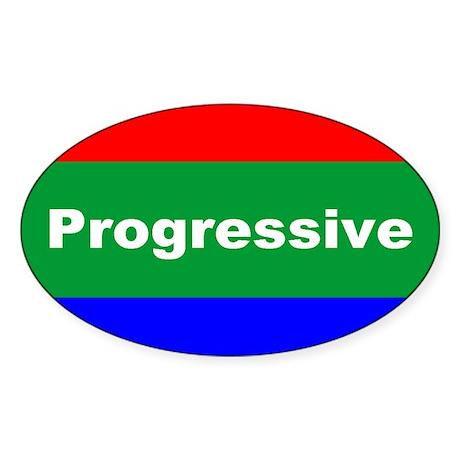 Progressive Oval Sticker