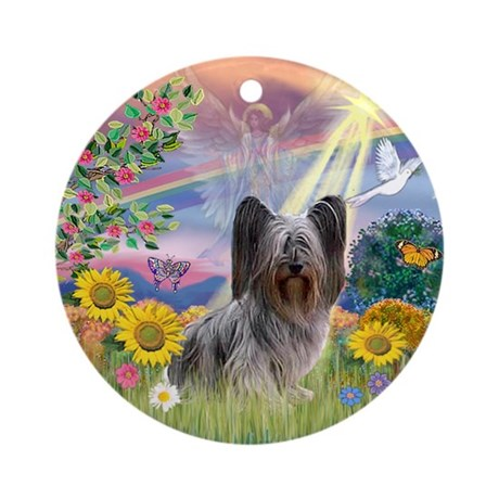 Cloud Angel and Skye Terrier Ornament (Round)