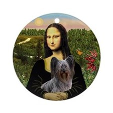 Mona Lisa and her Skye Terrier Ornament (Round)