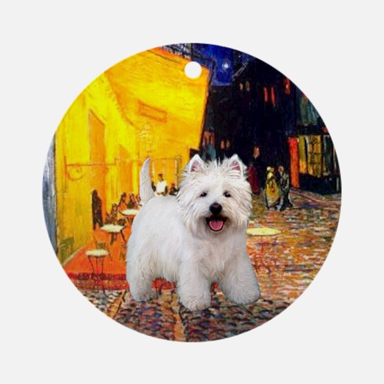 Terrace Cafe and Westie Ornament (Round)