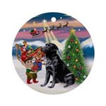 Black Lab Christmas Ornament (Round)