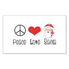 Peace Love Santa Rectangle Decal