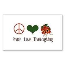 Peace Love Thanksgiving Rectangle Decal