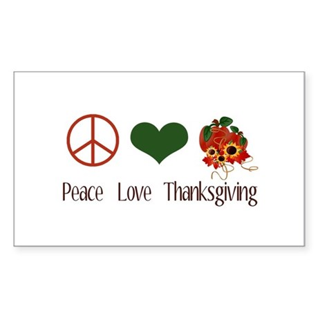 Peace Love Thanksgiving Rectangle Sticker