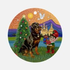 Rottweiler Christmas Fantasy Ornament (Round)