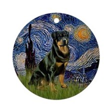 Starry Night & Rottweiler Ornament (Round)