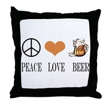 Peace Love Beer Throw Pillow