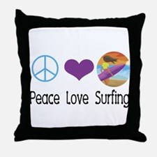 Peace Love Surfing Throw Pillow