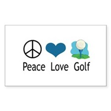 Peace Love Golf Rectangle Decal