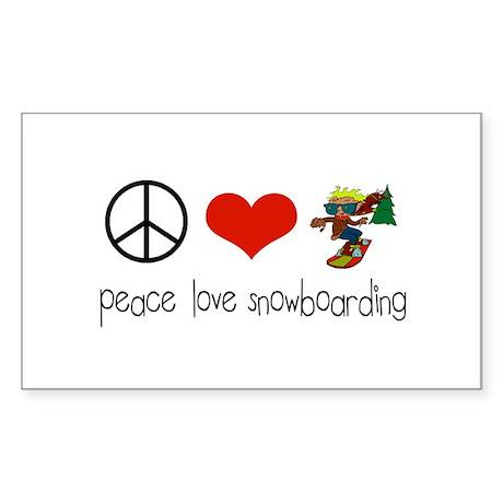 Peace Love Snowboarding Rectangle Sticker