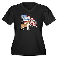 Beagle American Flag Women's Plus Size V-Neck Dark