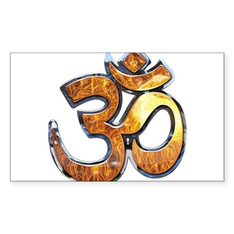 Om Mantra with flames Rectangle Sticker
