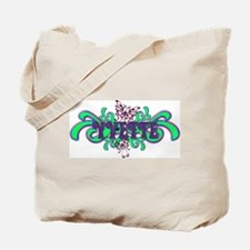 Yvette's Purple-Green Butterfly Name Tote Bag