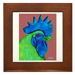 Blue/Lime Rooster Framed Tile