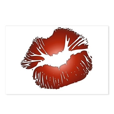 Red Lips Kiss Postcards (Package of 8)