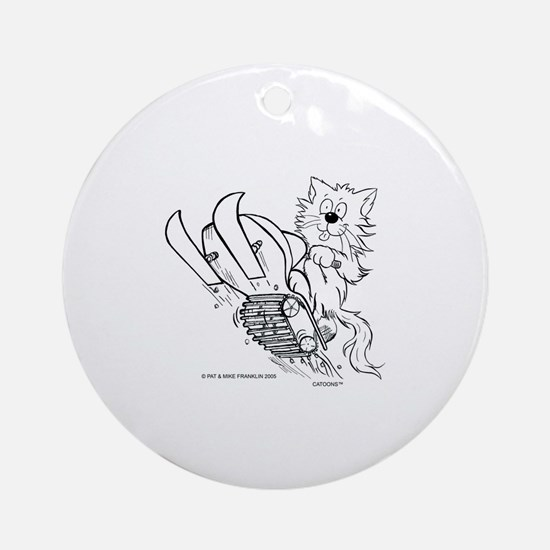 Catoons™ Snowmobile Cat Ornament (Round)