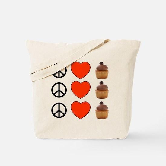 Peace Love & Cupcakes Tote Bag