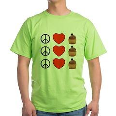 Peace Love & Cupcakes Green T-Shirt