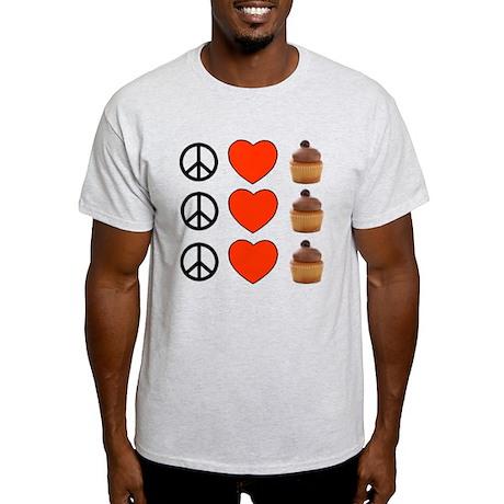 Peace Love & Cupcakes Light T-Shirt