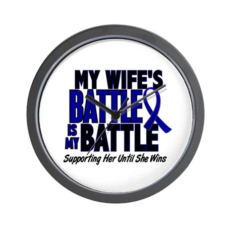 My Battle Too 1 BLUE (Wife) Wall Clock