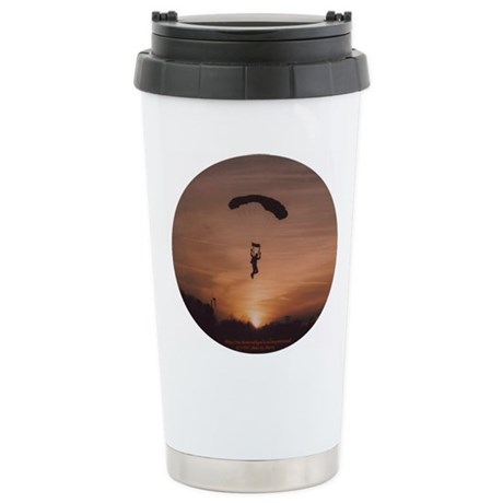 Stainless Steel Travel Mug with Sunset Skydiver