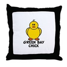 Green Bay Chick Throw Pillow