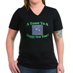 New Year's Toast Women's V-Neck Dark T-Shirt